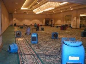 water damage equipment on carpet